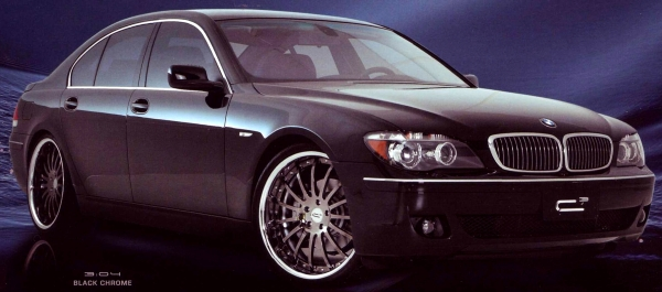 BMW 7 Series on C CUBED 3.04 Black / Chrome Wheels