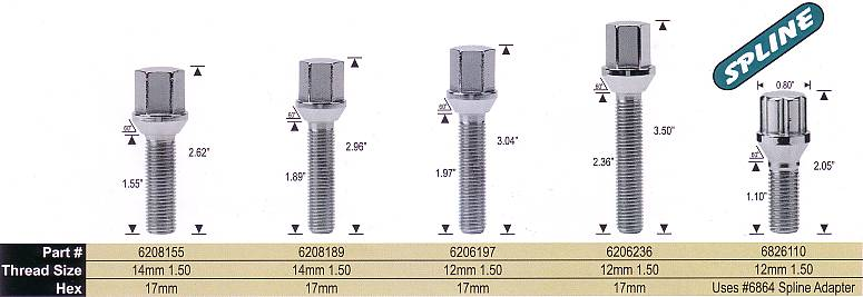 Hex Head Lug Bolts and Splined Lug Bolts