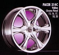Pacer Alloy Wheels on Pacer Sunburst   Discontinued   No Caps Available