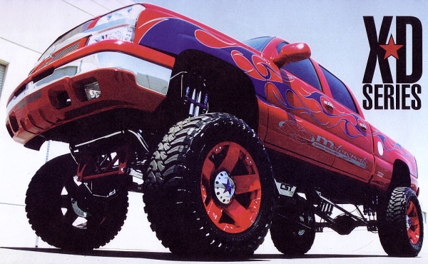 Custom Red XD Rockstars on a Lifted Chevy Truck